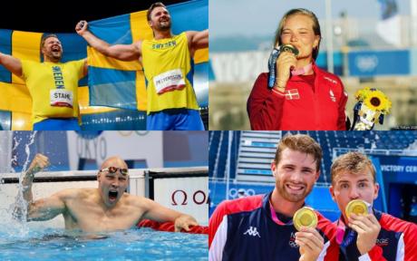 Kollage med nordiska OS-medaljörer